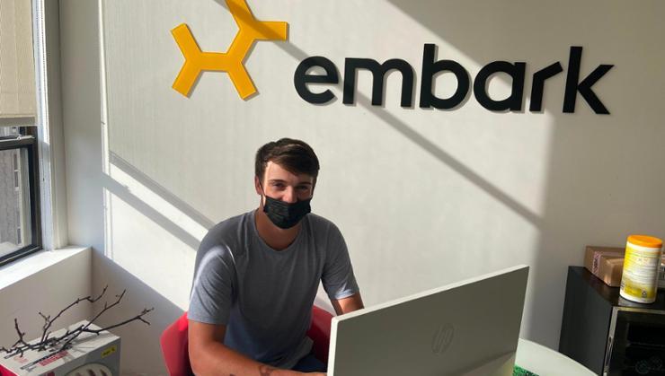 Jason Healy '22 at his summer internship at Embark in Boston.
