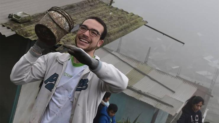 Joaquin Pacheco Criado '23 in Pamplona Alta, Lima. He was leading a weekly volunteering activity to build and paint stairs and houses for the communities there.