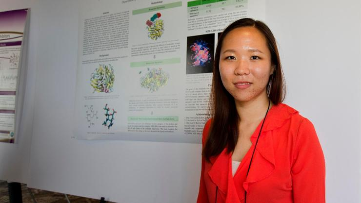 Kang at the 2017 Molecular Education and Research Consortium in Undergraduate computational chemistRY (MERCURY) where she presented on research with Prof. Adam Van Wynsberghe.