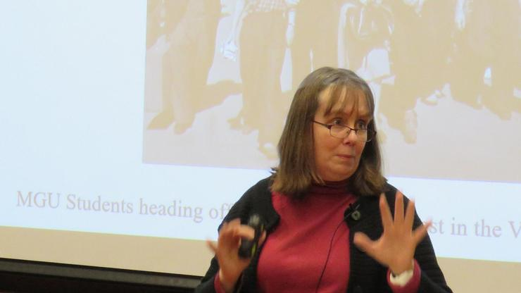 Kathleen Smith, professor of teaching at the Walsh School of Foreign Service at Georgetown University, lectures at Hamilton.