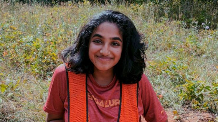 Nandini Subramanian '22 in an excavation site at Ft. Drum.