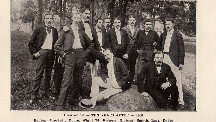 Class of 1890 at their 10th reunion standing in front of the stone marker under which the capsule lay