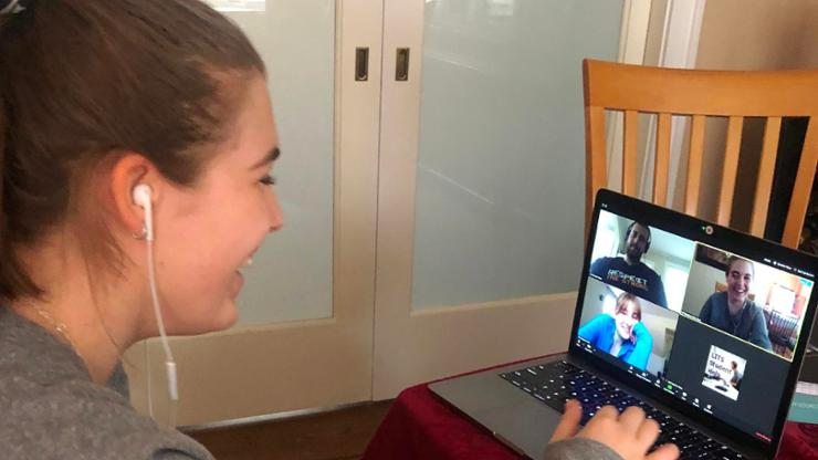 Kyra Richardson '21 in LITS' virtual Student Support Center.