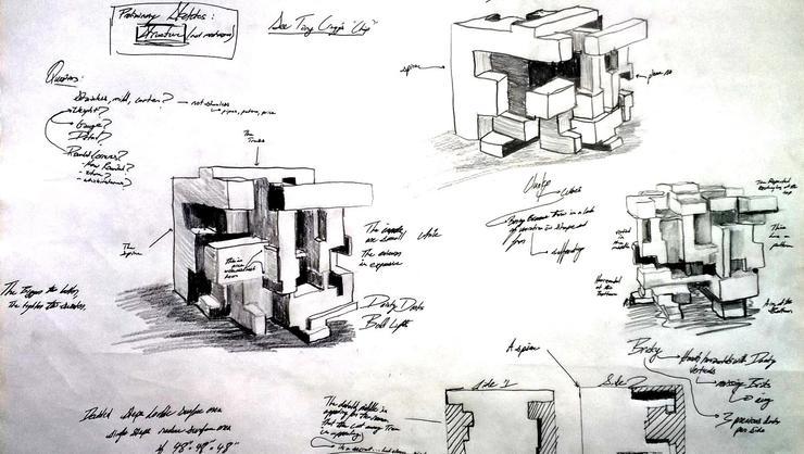 A sketch illustrating James Larson's Smallen Creativity Grant project.