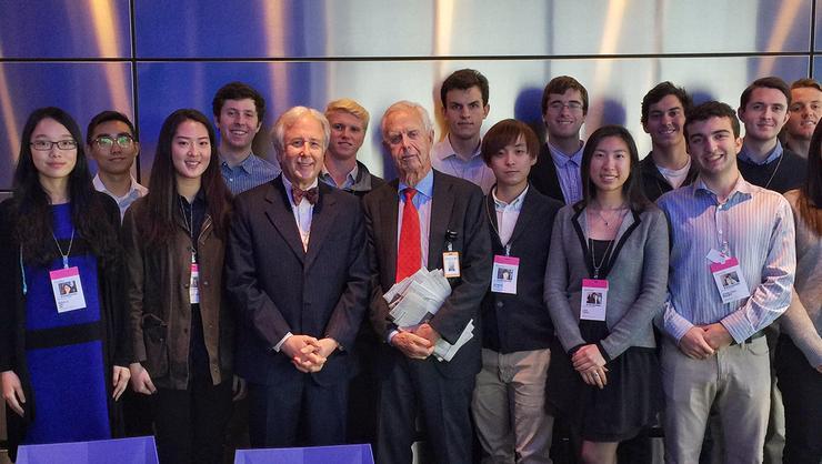 Hamilton Program in New York City students with Arthur Levitt Jr. at Bloomberg.