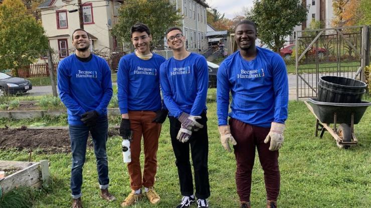 Volunteers at Utica's Linwood Community Garden included Luis Morales '20, Marvin Lopez '23, Josten Perez '22, and Sam Ntim-Addae '21.