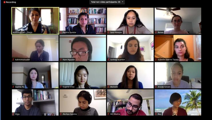 Professor Pavitra Sundar, top row, second from left) and several Hamilton students were among the presenters at a recent virtual conference.