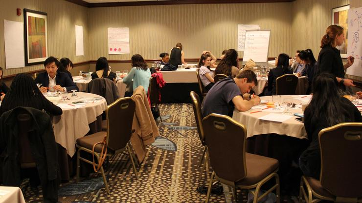 Participants reflecting on the leadership skills used to complete the Washington Challenge