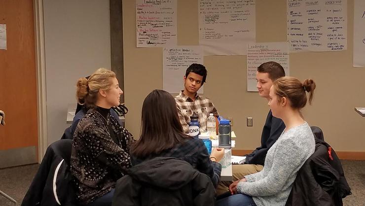 Students in the 2017 Levitt Leadership Institute discuss their ideas.