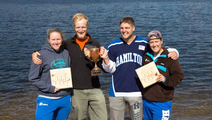 Canoe racing team members from left Anne McGarvey '17, Sam Bernstein '17, Kevin Roback '17, Rachel Lannino '17