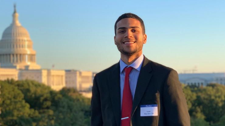 Luis Morales '20 in Washington, D.C. for the Hamilton Program's 50th anniversary in October, 2019.