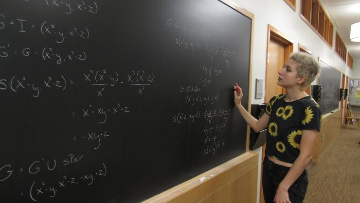 Maggie Ryan '21 investigates non-commutative algebra.