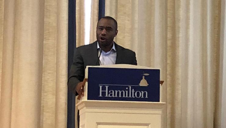 Voices of Color speaker Dr. Marc Lamont Hill speaks in the Chapel.