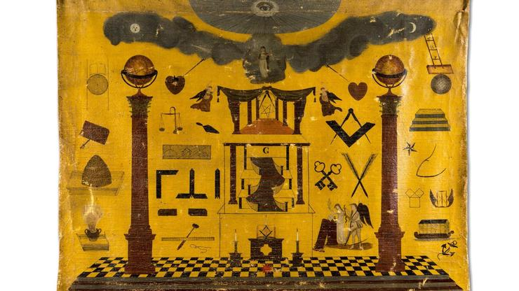 A Masonic tracing board painted by Oliver Harris in 1824 for Sanger Lodge #129 in Waterville, N.Y.