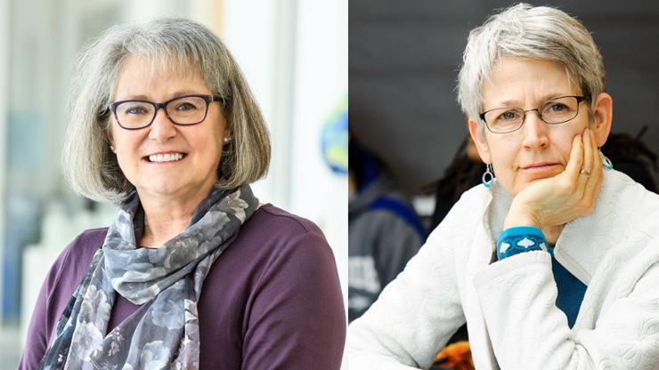 Mathematics professors Debra Boutin, left, and Sally Cockburn