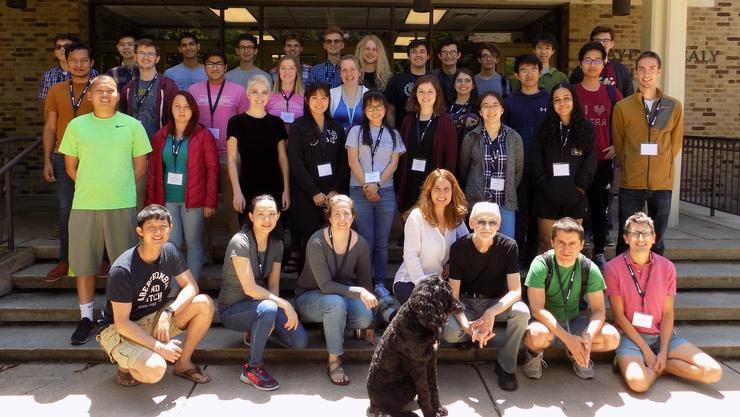Hamilton students Margaret Ryan '21, Aurora Cai '21 (second row, third and fourth from left), and Charles Miller (back row, fourth from left) attended an undergraduate math workshop at Notre Dame.