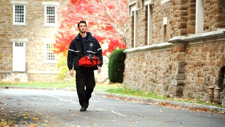 Matt Reinemann '17, a member of Hamilton College Emergency Medical Service, on duty.