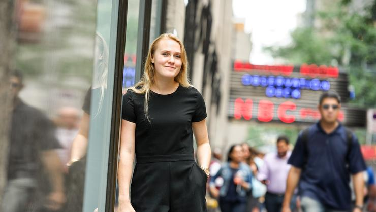 Maura Colley '19 near Rockefeller Center in NYC.