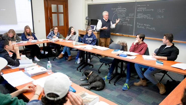 College Chaplain Jeff McArn discusses ideas with his American Freedom and Religious Thought class.