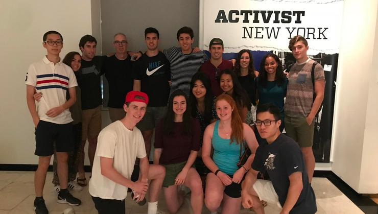 Hamilton Program in New York City students with professor Chris Georges at the Museum of the City of New York.