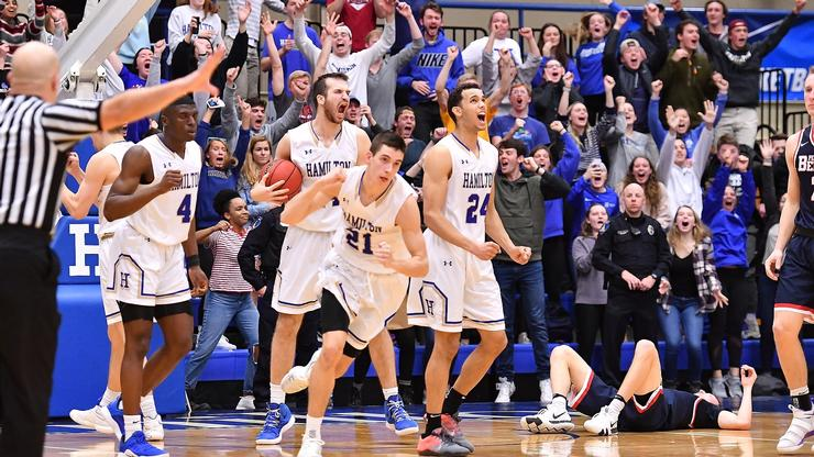 After weekend wins, Hamilton will host the sectional round of the 2019 NCAA Division III Men's Basketball Championship at the Field House on March 8 and 9.