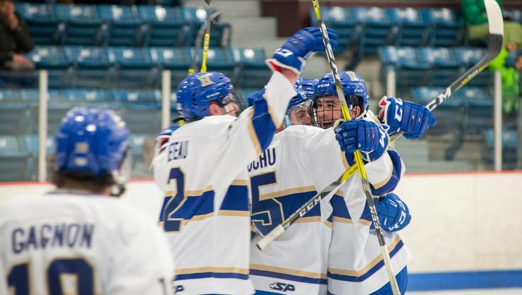 Men's hockey team members celebrate a goal at the Clinton Arena.