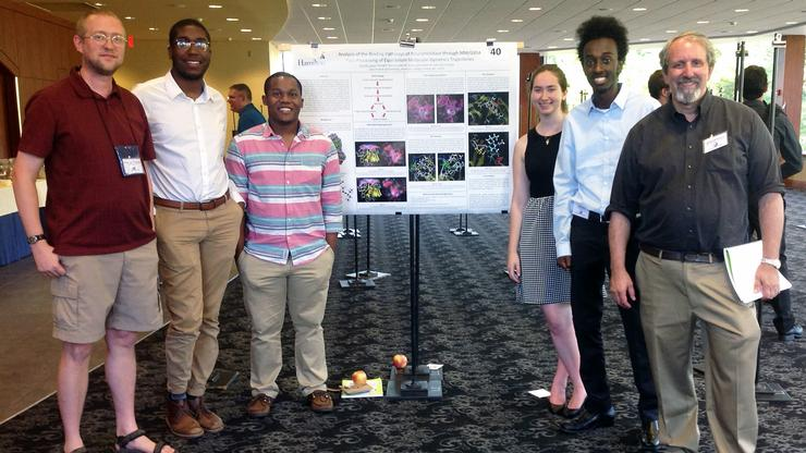 From left: Associate Professor Adam Van Wynsberghe, David Dacres '18, Kalvin Nash '18, Erin Lewis '18, AB Abera '19 and Rich Pastor '73. The students presented their computational chemistry research at the 15th Annual Molecular Educational Research Consortium in Undergraduate computational chemistRY conference at Bucknell University.