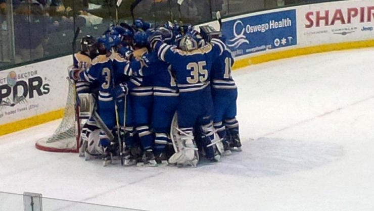 The Continentals celebrate their win against SUNY Oswego in a first round NCAA game.
