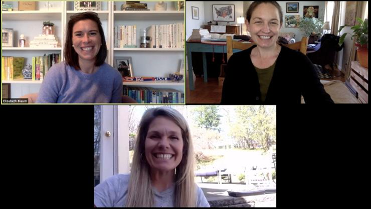 Mimi Csatlos '00, upper right, on a Zoom meeting with (upper left ) college counselor Elizabeth Blaum, and bottom, Amy Koudelka, associate director of college counseling