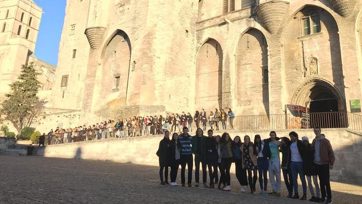 Students in front of the Palace of the Popes in Avignon