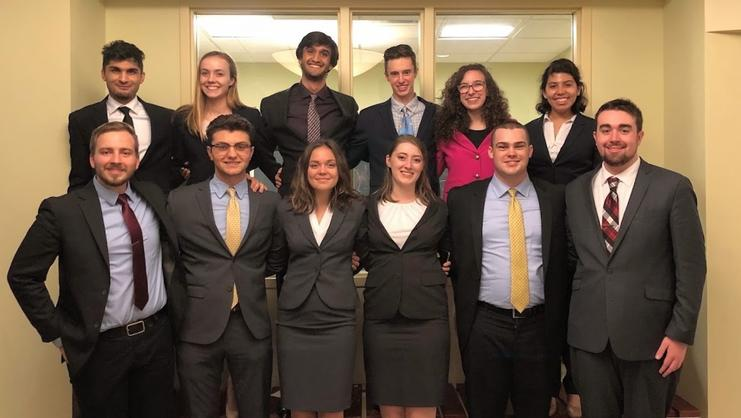 Mock Trial team members at Haverford's Black Squirrel Invitational.