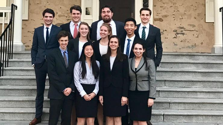 Hamilton's Mock Trial team at Haverford College.