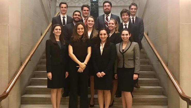 Hamilton's Mock Trial team after their victory in Rochester.