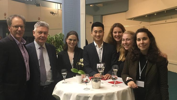 From left, Professor Alan Cafruny; Karel De Gucht, former European Commissioner for Trade for the EU; Rebecca Werrell '18; Kyung Noh '18; Victoria Bullivant '18, Annie Berman '18, and Tara Cicic '18.
