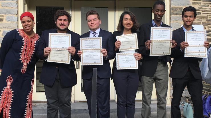 From left: Model UN advisor Kira Jumet, Cesar Guererro, Edsel Llaurador, Claire Moutafian, AlMahdi Mahil, and David Rayudu.