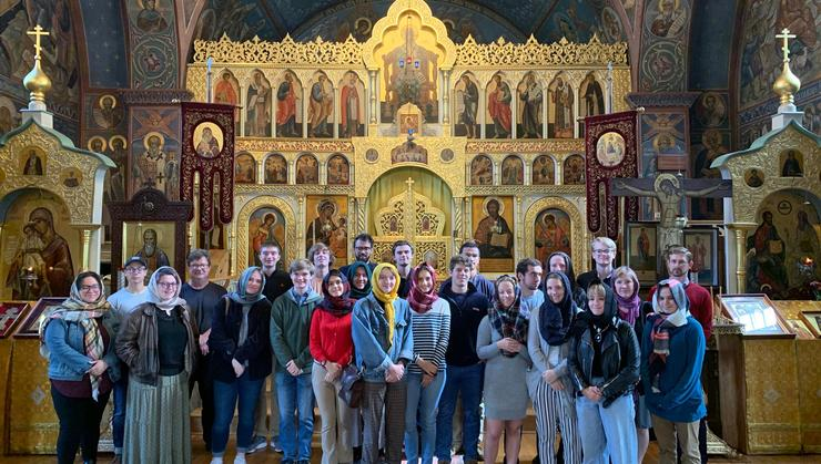 Students and faculty in Hamilton's Russian Studies Program visited Holy Trinity Monastery, a Russian Orthodox church in Jordanville, N.Y.