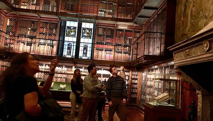 Connor Thomson '20, Josh Vega '20 and Hope Medina '21 with tour guide at the Morgan Library.