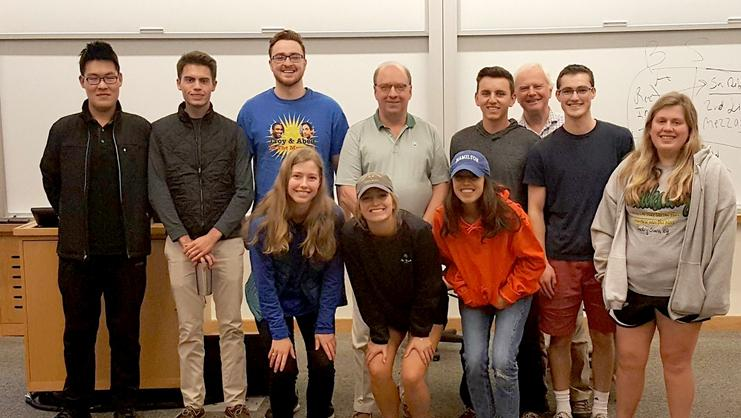 Students in Professor Derek Jones' Comparative Economic Systems class with Rob Morris '76.