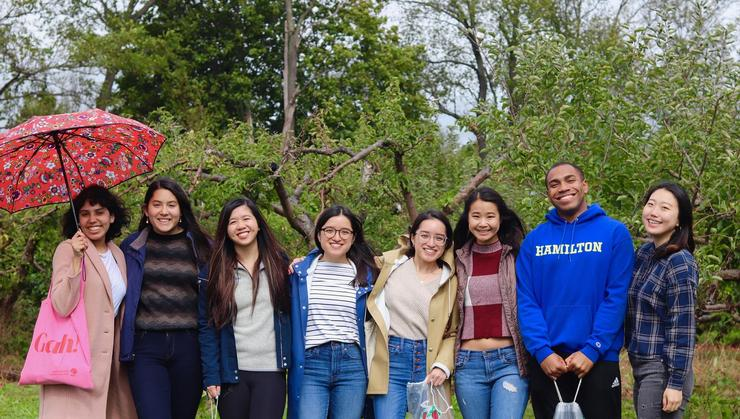 Multicultural Peer Mentors Grecia Santos '20, Claire Chang '20, Michelle Chung '20, Tiffany Ly '20, Kimberly Ly '20, Ngoc Ngo '20, Edgar Otero '20, Hyein Kim '20.