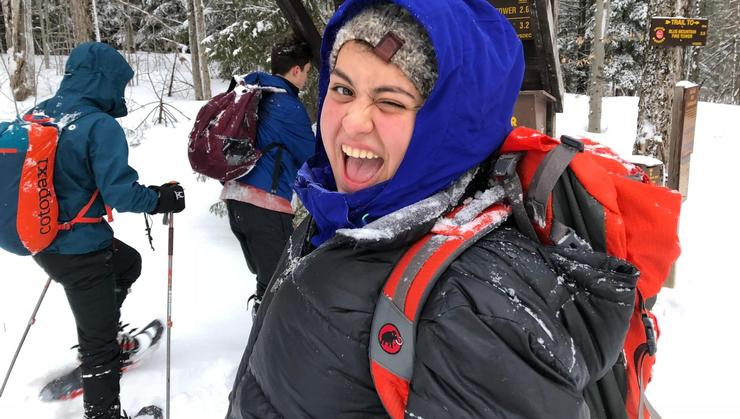 Natalie Rodriguez '22 participated in last year's pilot special-interest housing community Wilderness and Outdoor Leadership (WOLF). The program gave first-year students the opportunity to hike, canoe, and snowshoe while forming lasting friendships.
