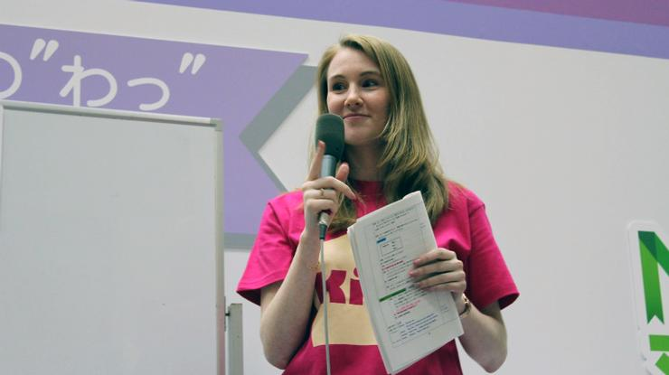Karen Haedrich '06 at an event for NHK, the radio station she works for in Japan.