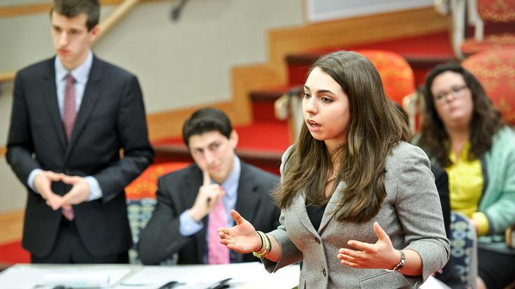 Mock Trial co-captain Caroline Reppert '17 argues a case in a mock trial tournament held at Hamilton.