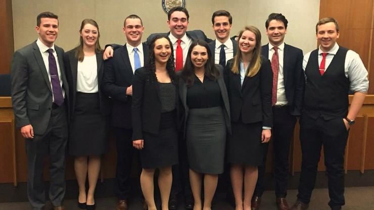 Hamilton's Mock Trial team at the Opening Round Championship Tournament.