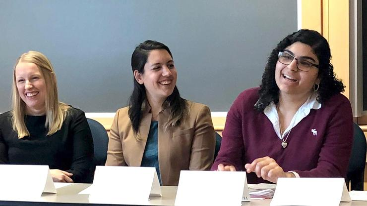 Panelists, from left: Leeann Brigham '09, Savannah Knell '10, Nathalia Mahabir '17, Laur Rivera '16