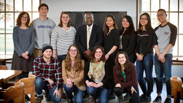 Students, faculty and organizers of the Global Volunteers service trip to Nevis with Ambassador Everson Hull.