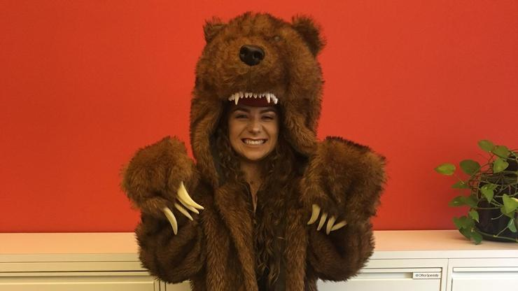 Nicole Lyons '18 wearing the bear coat from the Comedy Central show Workaholics.