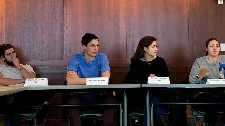 From left, Harry Dubke '19, Will Kaback '20, Elizabeth Foot '20, and Caitlin Berreitter '20 describe their non-profit internships.
