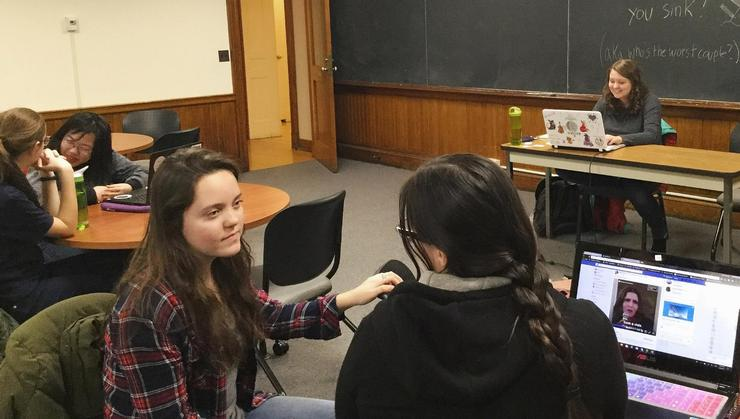 Students meet in the Novelists Support Group.