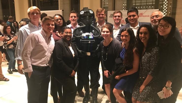 Hamilton students and New York City program director Erol Balkan with a <em>Star Wars</em> character.