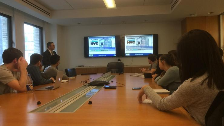 NYC Director of Waterfront and Open Space PlanningMichael Marella speaks to students in the Hamilton in NYC program.